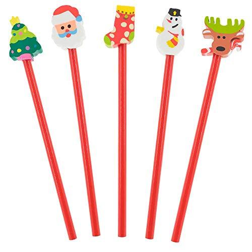 Lote 100 lápices con Goma de borrar Motivos Navideños, Regalos Infantiles para Eventos navideños