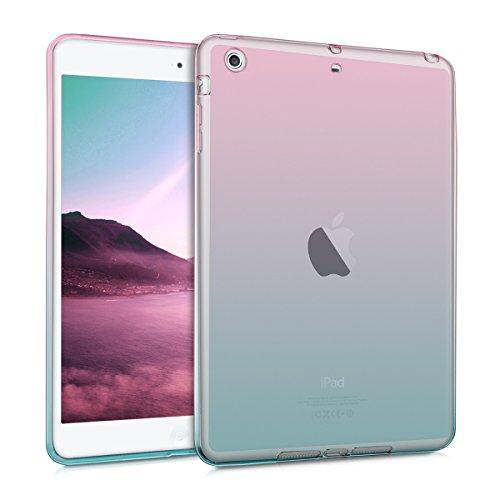 kwmobile Carcasa Compatible con Apple iPad Mini 2 / iPad Mini 3 - Funda para Tablet de TPU - Bicolor Rosa Fucsia/Azul/Transparente