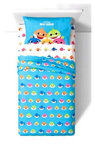 Juego de sábanas de 3 piezas de tiburón para niños y niñas, 100% poliéster y super suave, 1 sábana bajera, 1 sábana encimera y 1 funda de almohada de tamaño estándar