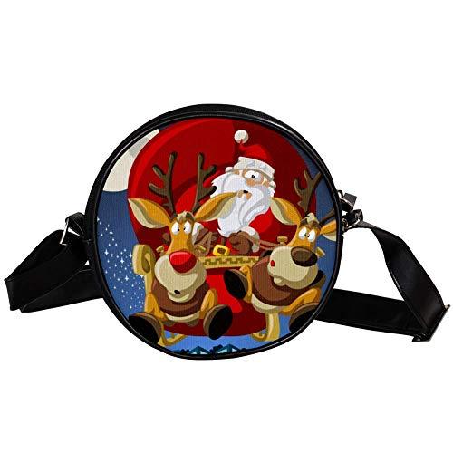 Bennigiry Handtasche mit Weihnachtsmann auf Schlitten, runde Umhängetasche, Handtasche für Teenager, Mädchen und Frauen