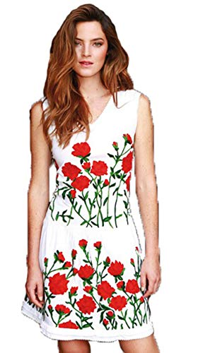 Almatrichi - Vestido - para mujer blanco White Red 42