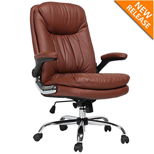 Ergonomic Office Desk Chairs Computer Gaming Chair PU Leather Chair Brown Executive Computer Chair Swivel Rolling Lumbar Support for Women, Men brown chair gaming