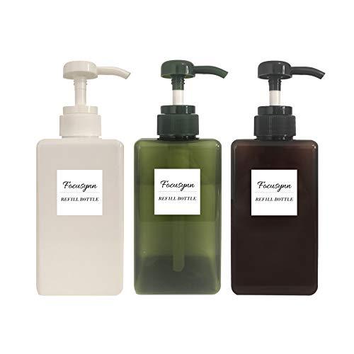 Focusynn Botellas dispensadoras de Jabón 450ml. Botellas de Bomba de Plástico, Recipientes vacíos rellenables para Jabón, Champú, Detergente Líquido (3 Piezas)