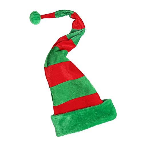 YeahiBaby Weihnachtsmützen Elfen Hut mit Pompon Lange Nikolausmützen Winter Mütze Weihnachten Party Gastgeschenk (Rot und Grün)