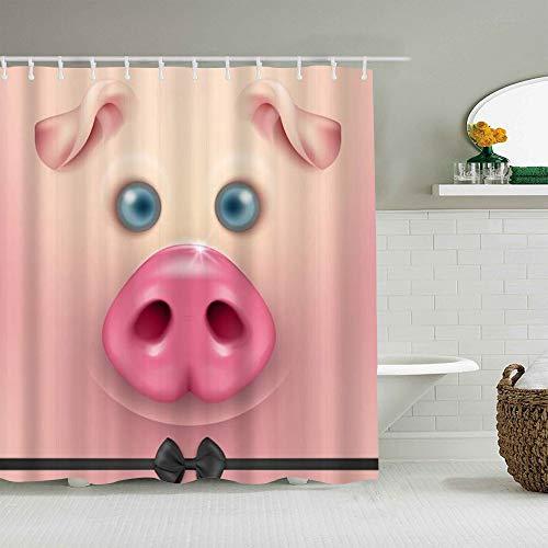 Haoerwu Personalisierter Duschvorhang,Lustiges Tier niedliches Schwein mit Bowknot Chubby Pet,wasserabweisender Badvorhang für das Badezimmer 180 x 180cm
