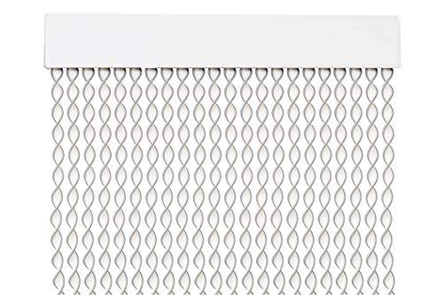 MercuryTextil Cortina para Puerta Tiras PVC 200x90cm,Cortina para Puerta Exterior,10 Color (Blanco+Filo Gris)