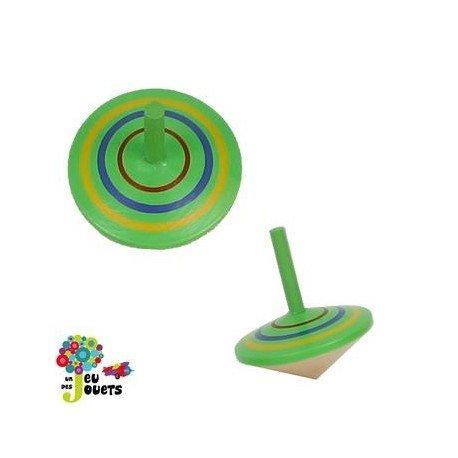Jouet Toupie en bois coloré Diamètre 5 cm Enfant 3 ans + - Vert
