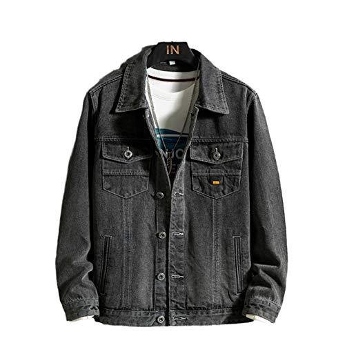 HBODHBGS Chaqueta de Mezclilla Ocasional de otoño Ocasional de Hombre Oscuro Gris Streetwear Jeans Abrigo Ropa Masculina más tamaño Black Gray XXL