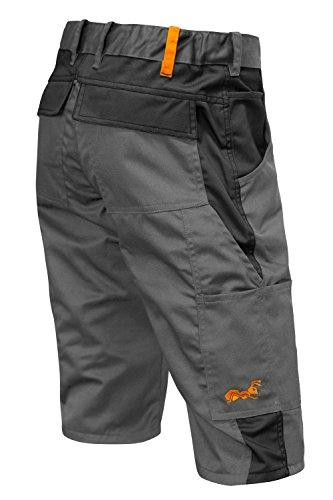 strongAnt® - Männer Arbeitshose kurz Shorts Berlin Sommer YKK Reisverschluß - Kermen - Größe: 42, Farbe: Grau-Schwarz