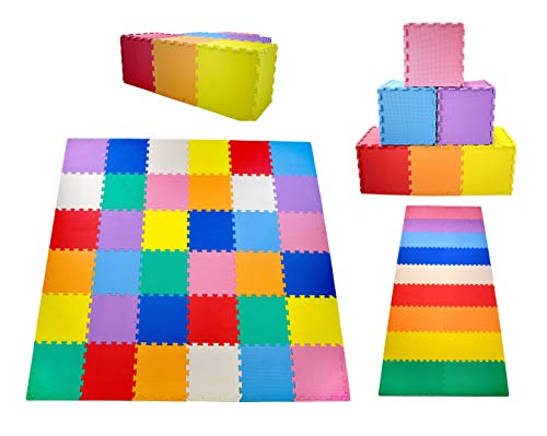 "KC Cubs Soft & Safe Non-Toxic Children's Interlocking Multicolor Exercise Puzzle EVA Play Foam Mat for Kids's Floor & Baby Nursery Room, 36 Tiles, 9 Colors, 11.5"" x 11.5"", 54 Borders (EVA002)"