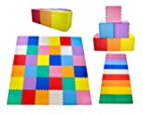 "KC Cubs Soft & Safe Non-Toxic Children's Interlocking Multicolor Exercise Puzzle EVA Play Foam Mat for Kids's Floor & Baby Nursery Room, 36 Tiles, 9 Colors, 11.5"" x 11.5"", 54 Borders (EVA002)"