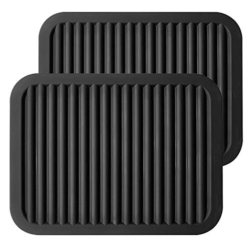 "ME.FAN Silicone Trivets - 9"" x 12"" Silicone Potholder [2 Set ] Silicone Pot Holders - Spoon Rest - Kitchen Table Mat - Hot Pads - Large Coasters (Black)"