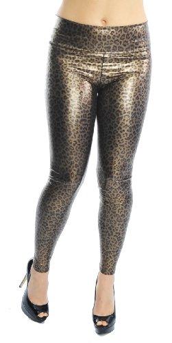 Leggings im Wetlook aus Kunstleder mit breitem Bund im Leo Style, matt glänzend, Clubwear, Partywear, Gogowear, Leo, Gr. XS S M (one Size)