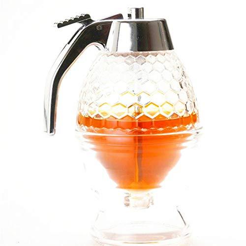Squeeze Bottle Miel Jar Contenedor Bee Drip Dispensador Kettle Almacenamiento Pot Soporte Soporte Titular Jugo Jarabe Cup Decoración del hogar Dispensador de miel / jarabe Dispensador con soporte  Mi