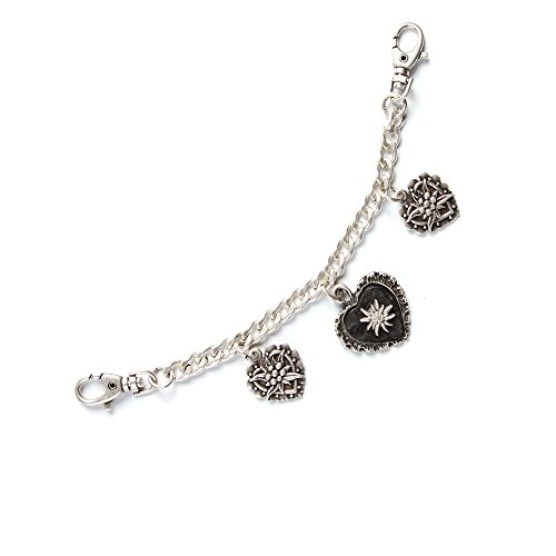 ALMBOCK Trachten Charivari Damen Altsilber | Charivari Kette Silber mit liebevollen Herzanhängern | Trachtenkette Altsilber - Charivari Herz
