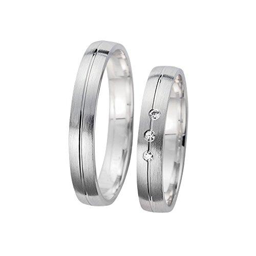 Confíes anillos Oro blanco visillo mate brillante ranura y tres wunderschönenen brillantes