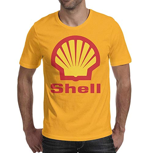 GuLuo Shell-Gasoline-Gas-Station-Logo Men's Tshirt Crew Neck Loose-Fit Short Sleeve Tees