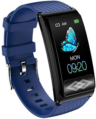 ZHENAO Smart Watch For Men Mujeres Fitness Tracker Ip67 Pantalla Táctil Impermeable Bluetooth Reloj Inteligente con Ritmo Cardíaco/Monitor de Sueño Podómetro-Rosa Exquisito/Azul