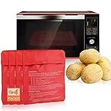 Funmo 4 Pcs Bolsa para Patatas, Bolsa de Papa para Microondas, Microondas Olla Bolsa cocer Patatas Lavable Reutilizable Bolsa Patatas Solo (Rojo)