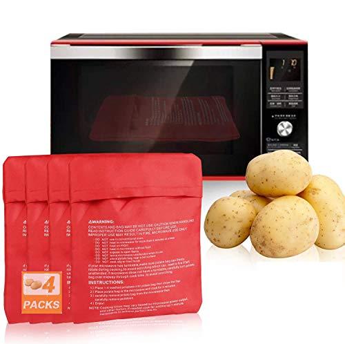 Borsa per Patate, 4Pezzi Microonde Patata Sacchetto per Patate, Sacco Cuoci Patate, Patate Microonde Per Dieta Borsa Cucina (Rosso)