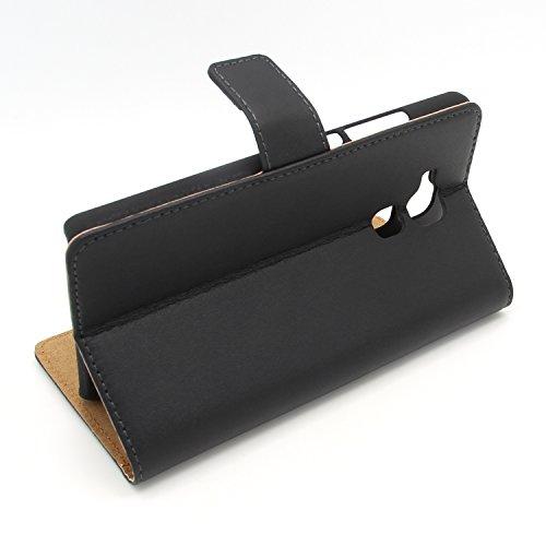 Ambaiyi Flip Echt Ledertasche Handyhülle Brieftasche Hülle Schutzhülle für Huawei Honor 5C Hülle , schwarz - 3