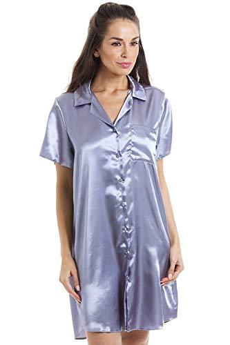 CAMILLE Frauen Luxuriöse Knie Länge Silber Satin Nachthemd 40