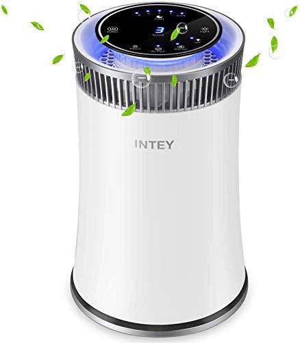 INTEY HEPA purificatore d' aria silenzioso filtro dell' aria con ioni Auto-off timer/Pulsante/luce notturna per Allergy Season (True HEPA filtro aria incluso)