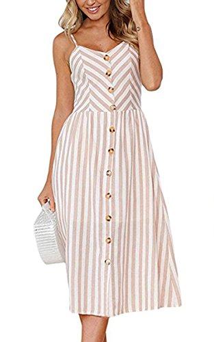 Angashion Damen V Ausschnitt Spaghetti Buegel Blumen Sommerkleid Elegant Vintage Cocktailkleid Kleider, Größe: S, Farbe: 0895 Hell Kaffee