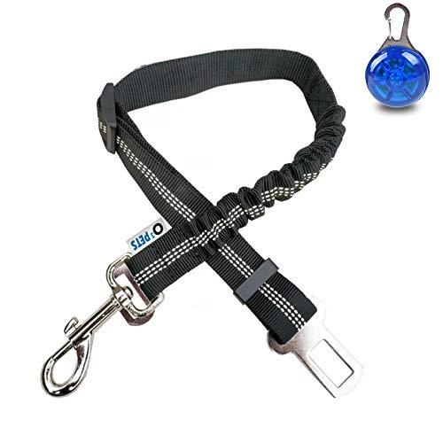 O³ Hundegurt fürs Auto// 1 Stück // Anschnallgurt für Hunde mit Stecker fürs Gurtschloss // längenverstellbarer Gurt mit elastischem Ruckdämpfer // Autogurt (1x Schwarz)