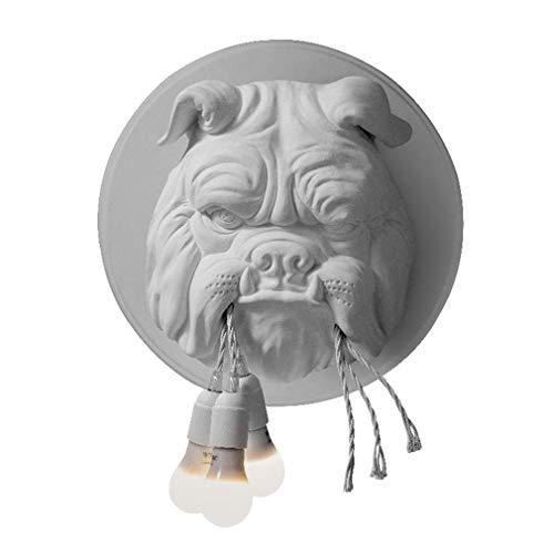 Lámpara de pared Bulldog, lámpara de pared con cabeza de animal nórdico, aplique de pared de resina de diseño creativo individual para restaurante, cocina, loft, barra de bar KTV,Blanco