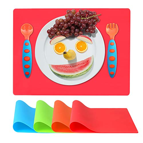 Kids Placemats for Dining Table (16 x 12 Inches), Silicone Baby Table Mats with Spoon Fork Reusable, Non-Slip, Waterproof, Toddler Placemats Set of 4