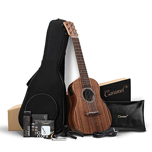 Caramel Baritone Ukulele 30 inch All Solid Acacia Wood Professional ukelele Instrument Kit Small Hawaiian Beginner Guitar ukalalee Starter Pack Bundle Gig bag Tuner Strap Aquila Strings Set
