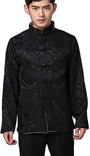 BLINGLAND Chinese Traditional Uniform Top Kungfu Shirt for Men US M Asia L-Black+Grey