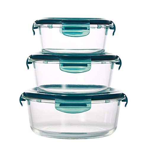 QIMO 3 stuks Glas Maaltijdbereidingscontainers - Food Prep Containers with Dids Meal Prep - Voedselopslagcontainers Luchtdicht - Rechthoek, Rond