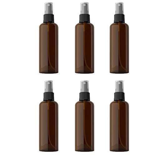 Hainice 100ml Botella De Spray Fino Aerosol De La Niebla Botellas Vacías De La Botella De Plástico Transparente Recargable para Aceites Esenciales Colonia Perfume Brown 6pcs