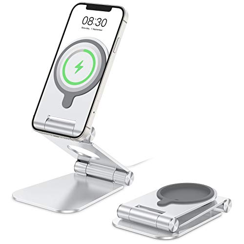 Stand for MagSafe Charger, OMOTON Foldable Phone Stand Holder for MagSafe Charger, Magsafe Accessories Designed for iPhone 12 Pro Max / 12 Pro / 12 Mini / 12, MagSafe Charger Not Included, Silver