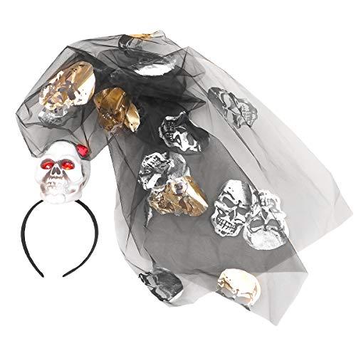 Amosfun 1pc Halloween Schädelkopf Haar Hoop Net Garn Kopfband Haarband Haive Schleier Kopfschmuck Haarschmuck Haarschmuck Zubehör für Halloween Party Favor