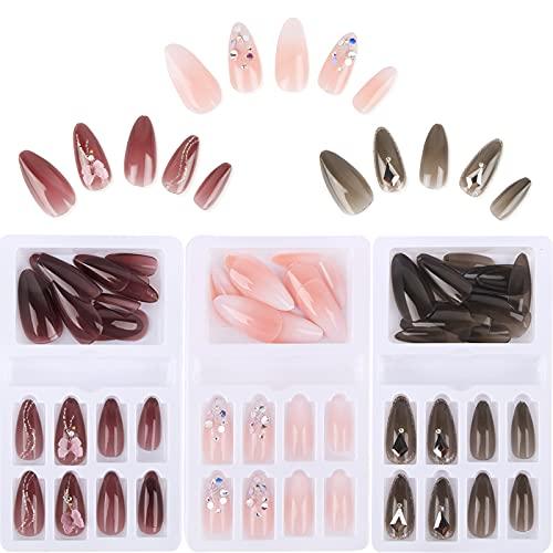 FLOFIA 72 Stück Künstliche Nägel zum Aufkleben Falsche Nägel Set Fingernägel Schmetterlinge French mit Strass DIY Nagel Kunst Maniküre Nail Art A