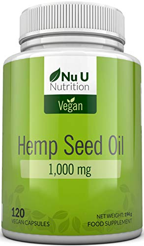 Hemp Seed Oil Softgels 1000mg Vegan   Hemp Oil Cold Pressed 120 Softgel Capsules 4 Month Supply   High Strength Vegan and Vegetarian Hemp Seed Oil Supplement with Omega 3 & Omega 6   Made in The UK