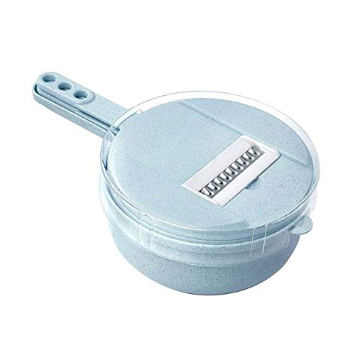 Paja de trigo de trigo de vegetal + Material PP Máquina de tornillo giratorio manual Cocina Profesional 8-IN-1 Alimentos de acero inoxidable Slicer con cese de drenaje Separador de huevos (azul) SONG