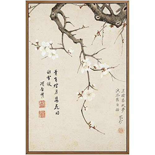 SHANGHAIXIAOTONG Vintage Art Estilo Chino Meilan Bamboo y Letras Poster Print Home Canvas Painting Picture Wall Art Decoration Customized, Photo Color, 20x25 Cm Sin Marco