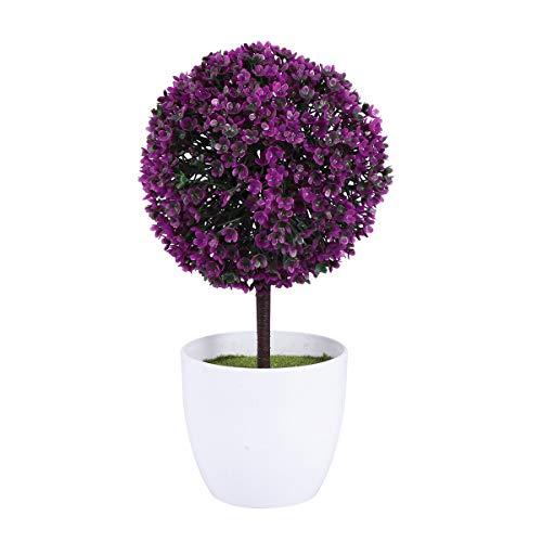 LIOOBO Decoracion de Plantas Artificiales Linda Planta de Plantas Artificiales simulada Planta Decorativa Bonsai Bola de Flores de plástico para la decoración del jardín -(púrpura Rojo)