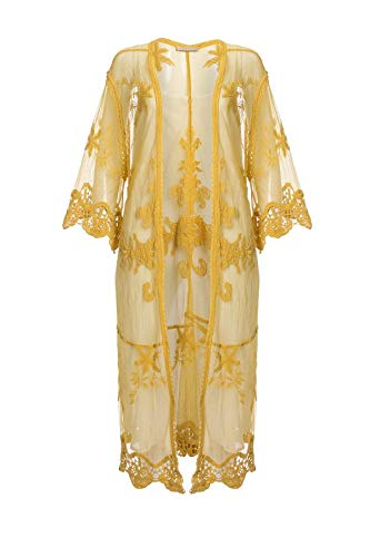 Jayley Vintage Kant Geborduurd Kimono Geel