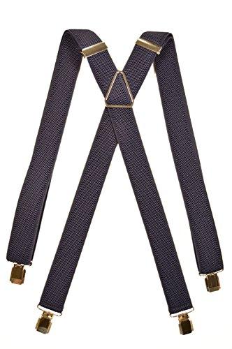 Olata Bretelle Elasticizzata per Bambini 5-12 Anni, X' Clip design/Metallo - Blu Scuro