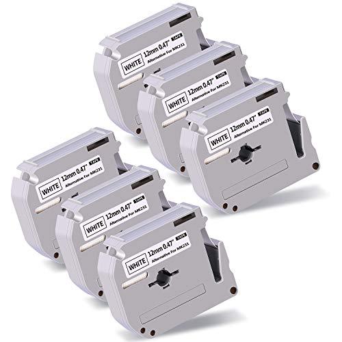 IKONG Compatbile Replacement for M231 M-231 M-K231 MK231 Label Tape, 0.47 Inch x 26.2 Feet, Used in PT-M95 PT-90 PT-80 PT-70BM PT-70SR PT-70 PT-65 Label Marker, Black on White, 6 Pack