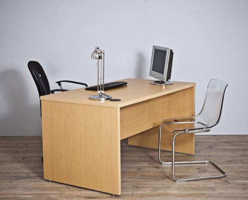 Intradisa - Mesa de despacho para oficina serie 9001 - 160x75x80, Acabado roble