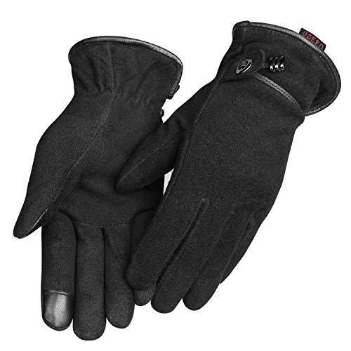 OZERO Womens Handschuhe mit Hirschspaltleder, Thermofutter und Touch-Screen-Pad, um die Hände im Winter warm zu halten, 1 Paar