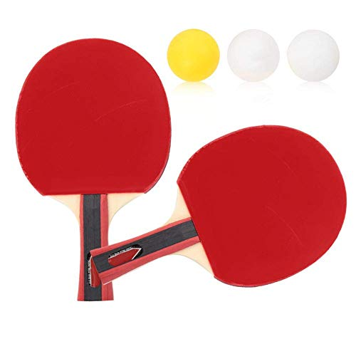 Soul hill Mesa de Ping Pong Bat, Mesa de Entrenamiento portátil Bat Durable Tenis de Ping-Pong Set 2 Raquetas y 3 Bolas zcaqtajro
