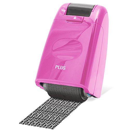 PLUS Japan, Datenschutz Rollstempel Camouflage in Pink, Textschwärzer, Identitätsschutz, 1er Pack (1 x 1 Rollstempel)