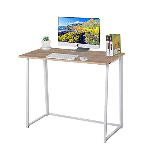 Dripex Faltbar Tisch Schreibtisch Computertisch für Homeoffice Arbeitszimmer Klappbar PC Tisch (Eichefarbe)
